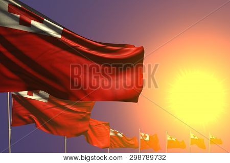 Cute Celebration Flag 3d Illustration  - Many Tonga Flags Placed Diagonal On Sunset With Place For C