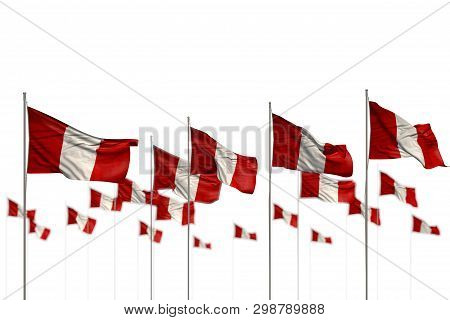 Wonderful Holiday Flag 3d Illustration  - Peru Isolated Flags Placed In Row With Bokeh And Place For