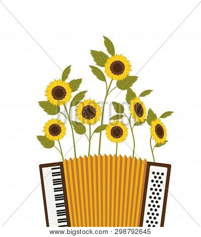 Accordion With Sunflowers Isolated Icon Vector Illustration Design