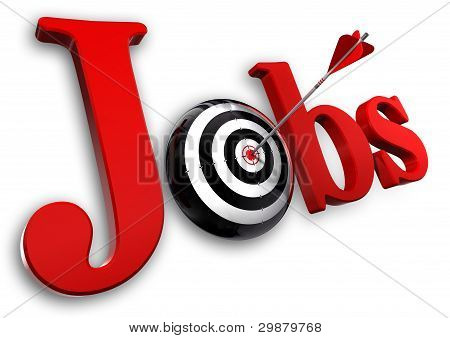 Jobs Red Word And Conceptual Target