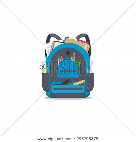 Blue Colored School Backpack With School Accessoires. Backpack With Pockets And Zipper. Education An
