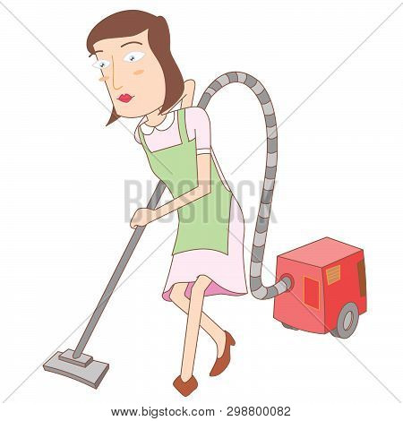 Illustration Of A Woman Using A Vacuum Cleaner