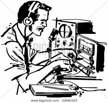 Ham Radio Operator - Retro Clipart Illustration