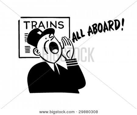 Train Conductor - Retro Clipart Illustration