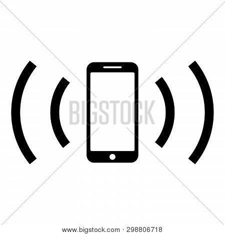 Smartphone Emits Radio Waves Sound Wave Emitting Waves Concept Icon Black Color Vector Illustration