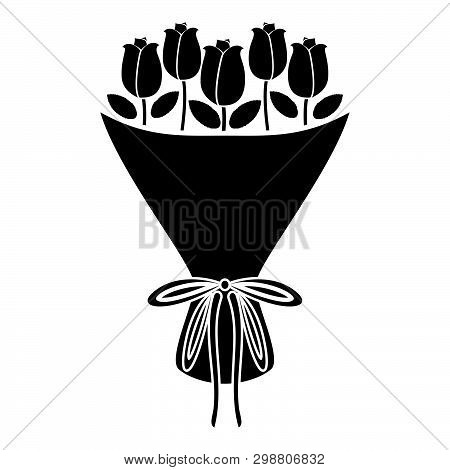 Bouquet Of Flowers Bouquet Of Roses Present Concept Bouquet Of Rose Flower Icon Black Color Vector I