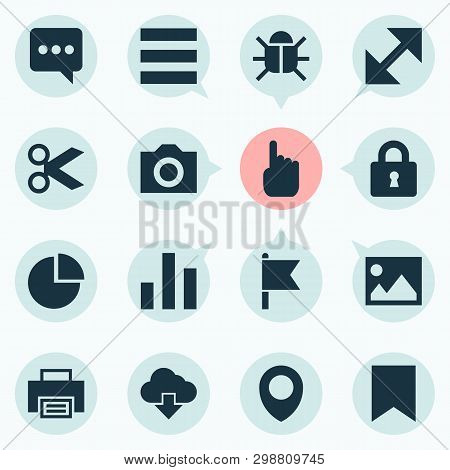 User Icons Set With Lock, Storage, Chatting And Other Map Pin   Elements. Isolated  Illustration Use