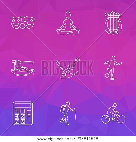 Lifestyle Icons Line Style Set With Math, Acting, Harp And Other Maintenance Elements. Isolated Vect
