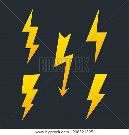 Set Of Lightning Bolt. High Voltage Icon. Thunder Bolt, Lighting Strike Symbol. Battery Charger Pict