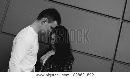 Picture Of Young Couple Having Difficulties In Relationship - Black And White Photography