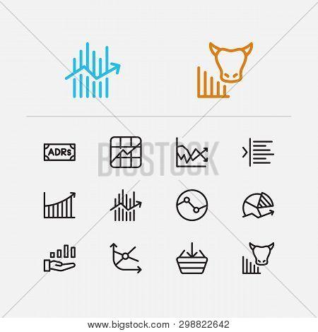 Finance trading icons set. Stock symbol and finance trading icons with stock sector, rally and chart. Set of sale for web app logo UI design. poster