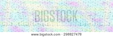 Painted Shabby Brick Wall Wide Panoramic Texture. Old Brickwork Panorama Pastel Colors. Long Light B