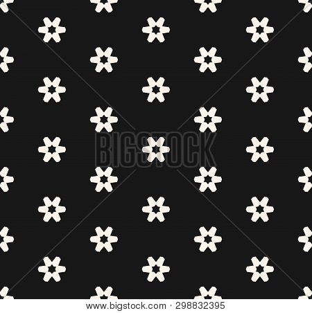 Subtle Minimal Black And White Vector Seamless Pattern With Small Geometric Flowers, Snowflakes, Sta
