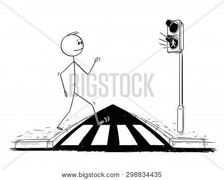 Cartoon Stick Figure Drawing Conceptual Illustration Of Man Walking On Crosswalk Or Pedestrian Cross