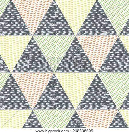 Multicolored Triangle Faux Patchwork Design With Hand Drawn Drop Texture. Seamless Vector Pattern. G