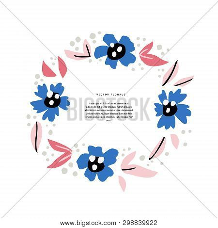 Floral Wedding Invitation Hand Drawn Template. Decorative Round Border With Abstract Blossom, Bloom.
