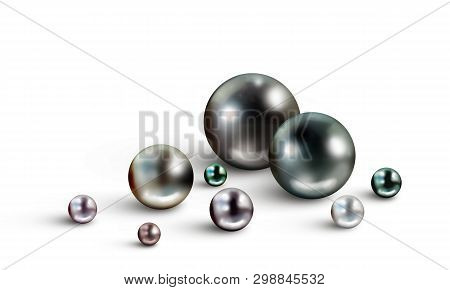 Pearl Background With Many Small And Big Tahitian Black Nacreous Pearls Of Different Hues Isolated O