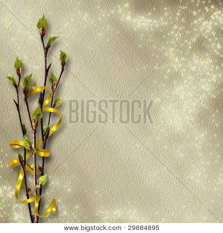 ?ard For Greeting Or Invitation On The Abstract Background With Birch's Leaves.