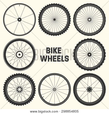 Bicycle Wheel Symbol Vector Illustration. Bike Rubber Mountain Tyre, Valve. Fitness Cycle, Mtb, Moun