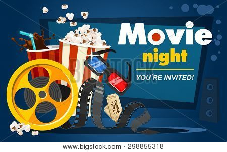 Movie Night Concept With Popcorn, Cinema Tickets, Drink, Tape In Cartoon Style. Movie Or Cinema Bann