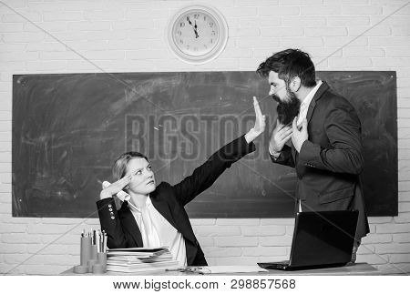 Stop Talking To Me. Criticism And Objection Concept. Teacher Wants Man To Shut Up. Please Shut Up. T