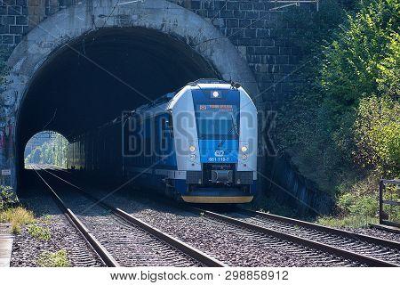 Svitavy, Czech Republic - 20.4.2019: Train Set In Tunnel. Passenger Train On The Route Ceska Trebova