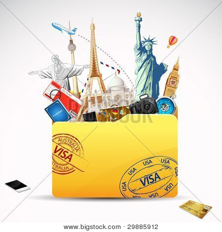 illustration of world famous monument and travel element in folder poster