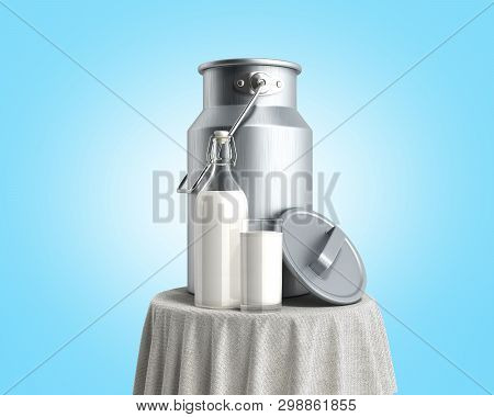 Milk Can Container Near The Bottle And Glass Of Milk On Table 3d Render On Blue Gradient