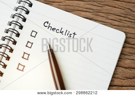 Checklist, To Do List, Prioritize Or Reminder For Project Plan, Selective Focus On Pen With Handwrit