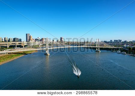 Wide And View Of Tilikum Crossing And The Willamette River In Downtown Portland, Oregon