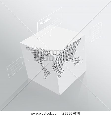 World Map On 3d Cube, Monochrome Cubic Globe, With Labels. Vector Illustration Template For Educatio