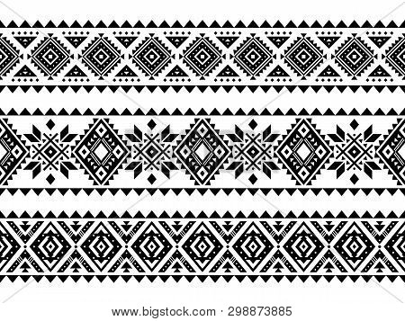 Aztec Vector Ornament. Set Of Native American Motifs, Seamless Stripes. Can Be Use For Linens Design