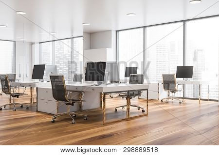 Corner Of White Open Space Panoramic Office