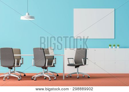 Blue Office Meeting Room Interior With Poster