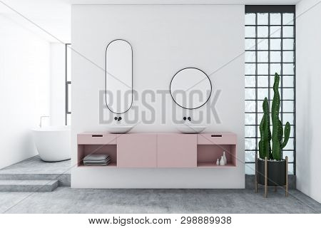 White Bathroom With Pink Double Sink