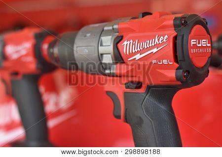 Vilnius, Lithuania - April 25: Milwaukee Power Tools On April 25, 2019 In Vilnius Lithuania. The Mil