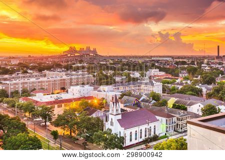 New Orleans, Louisiana, USA town skyline over the Garden District at dawn.