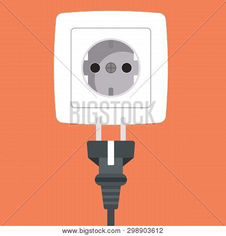 Power Plug Into White Power Socket Icon. Flat Vector Illustration