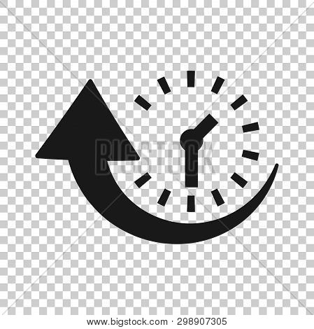 Downtime Icon In Transparent Style. Uptime Vector Illustration On Isolated Background. Clock Busines
