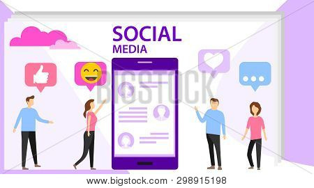 Social Media Concept With Characters. Media Content Like From Social Audience. Social Media Concept
