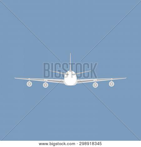 Jetliner Tourism Transportation Illustration Isolated Flat Icon Back View. Concept Track Traffic Pla