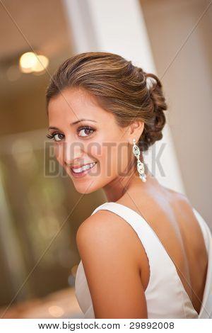Beautiful Bride Looking Over Her Shoulder
