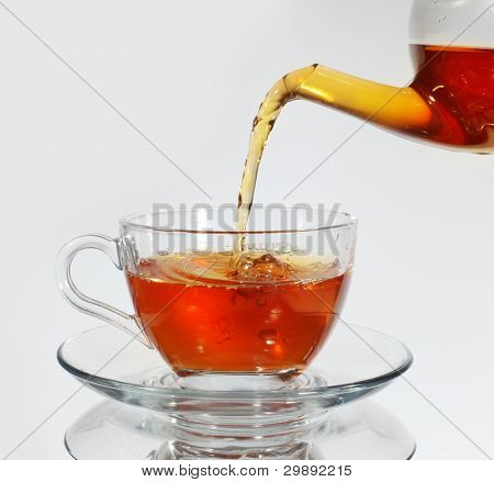 Pouring tea to a teacup