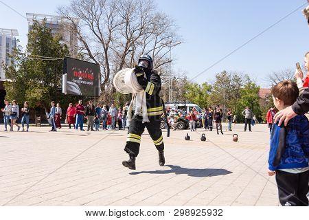 Anapa, Russia - April 27, 2019: Anapa Fire-technical Exhibition At The Theater Square In Anapa, Dedi