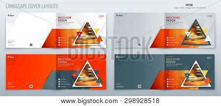 Orange Landscape Brochure Template Layout, Cover Design Annual Report, Magazine, Flyer Or Brochure I