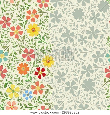 Unusual Striped Floral Vintage Border Design With Hand Drawn Flowers . Seamless Vector Pattern With