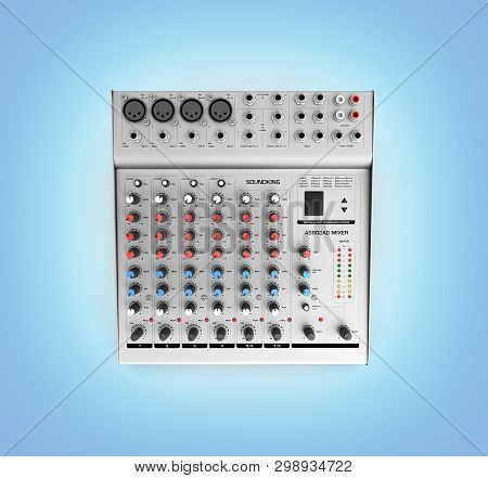 Hand Adjusting Audio Mixer Isolated On Blue Gradient Background 3d Render