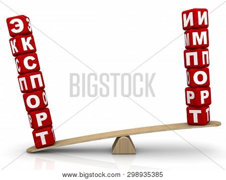 Export outweighs import. The Russian words EXPORT and IMPORT (made from red cubes with Russian letters) are weighed in the balance. The word EXPORT outweighs the word IMPORT. Isolated. 3D Illustration poster