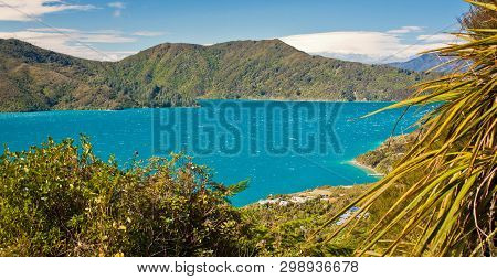 Blue Waters Of Cook Inlet Between North And South Island Of New Zealand