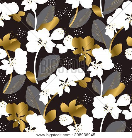 Abstract Orchid Blossom Seamless Vector Pattern. White And Golden Gradient Inflorescence Silhouette.